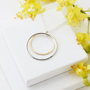 Cynthia Gold & Silver Double Circle Necklace