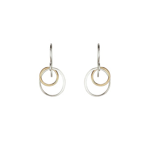 Cynthia Small Gold & Silver Two Circle Cluster Earrings