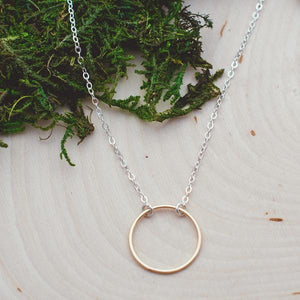 two tone gold circle necklace