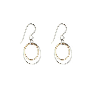 Cynthia Medium Gold & Silver Linked Circle Dangle Earrings