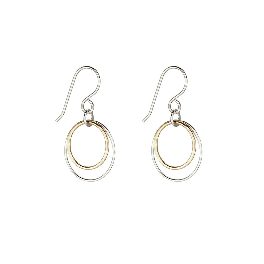 two tone dangle circle earrings