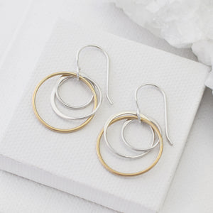 gold and silver multi circle earrings