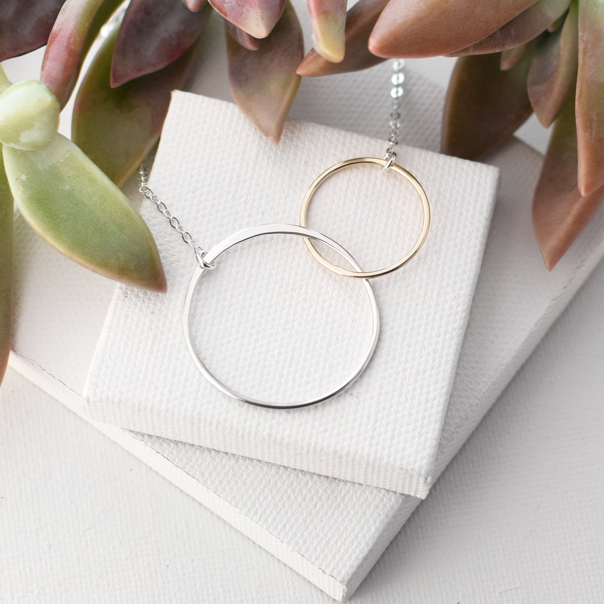 Cynthia Linked Gold & Silver Circle Necklace