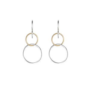 silver and gold dangle circle earrings