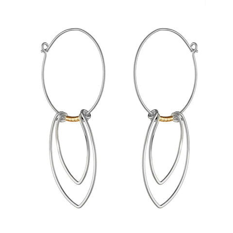 Protection Large Silver Petal Hoop Earrings with Gold Beads