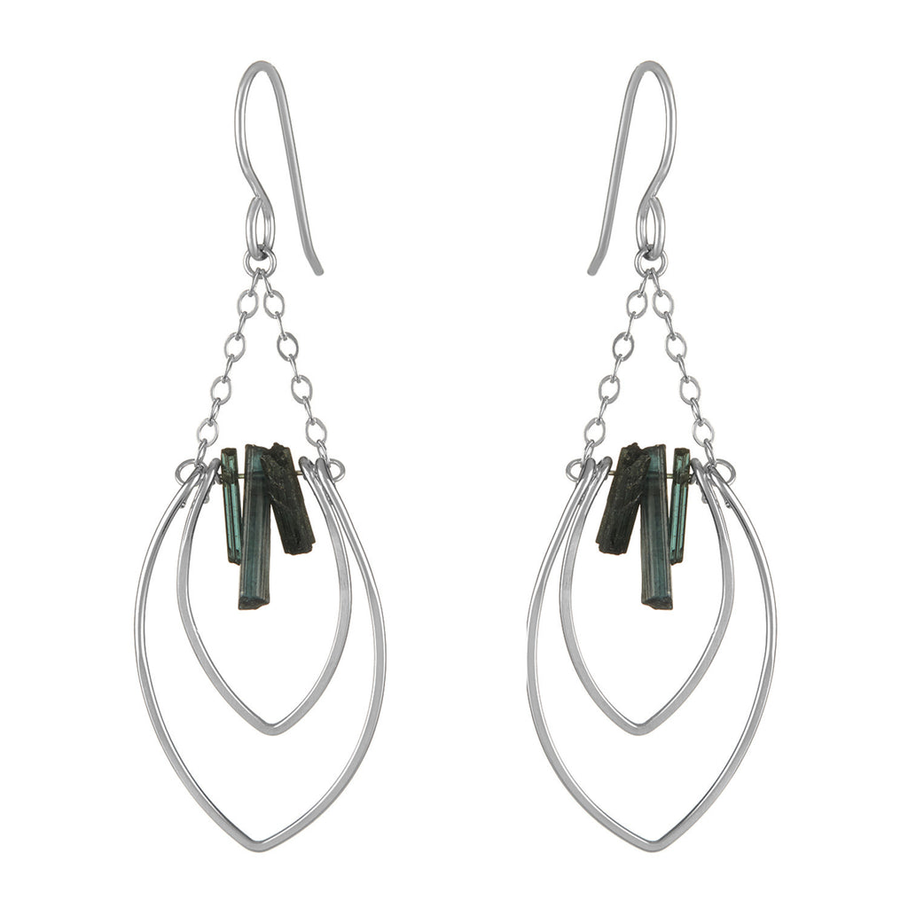 Protection Petal Chandelier Earrings with Tourmaline Fringe
