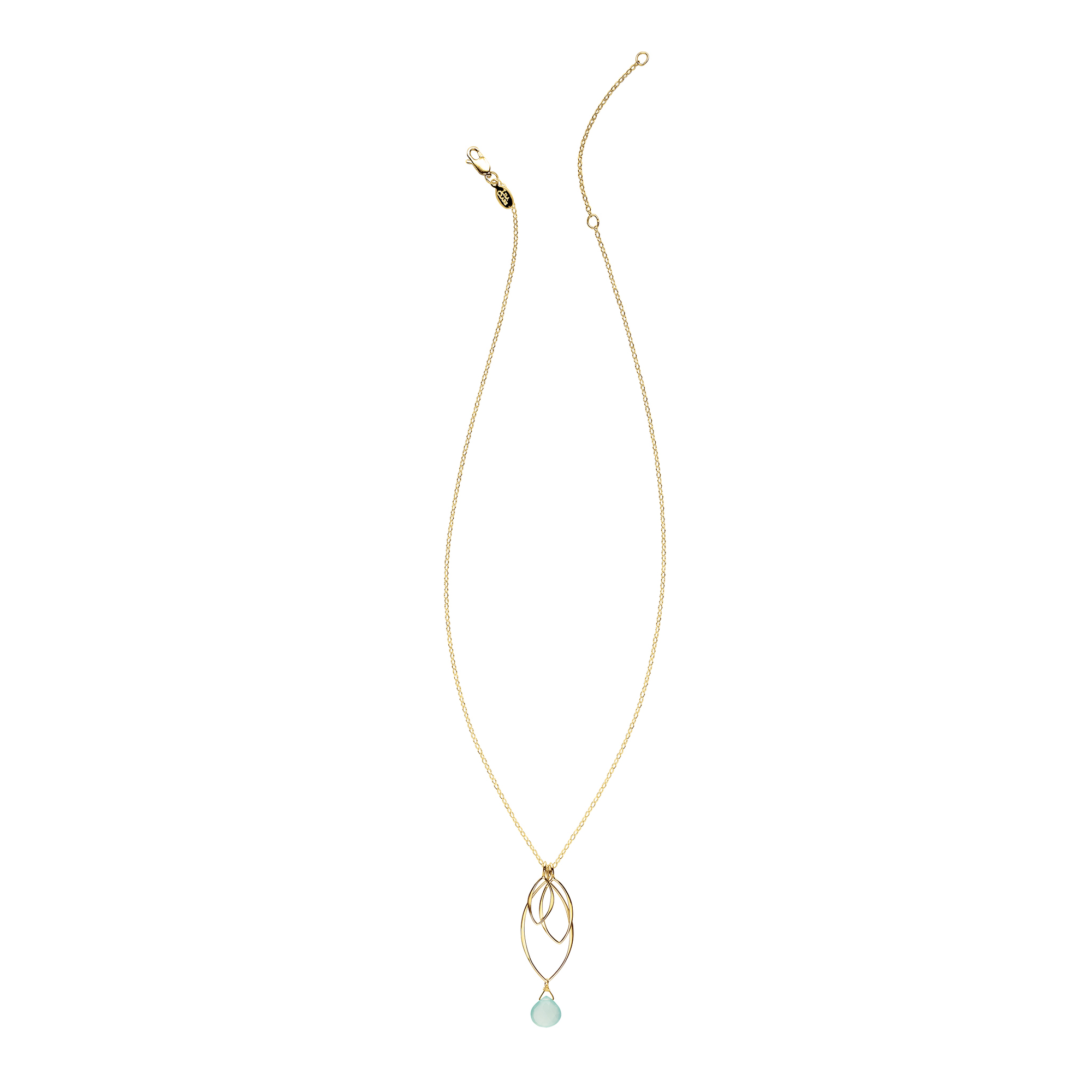 Ella Gold Medium Leaf Fringe Necklace with Gemstone