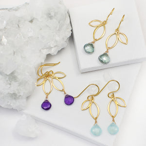 Ella Gold Mini Sprout Earrings with Gemstones