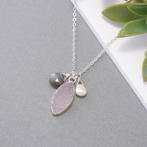Amethyst Druzy Necklace with Gray Moonstone and Pearl