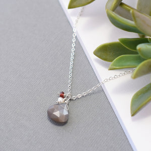 Gray Moonstone with Accent Gems Necklace