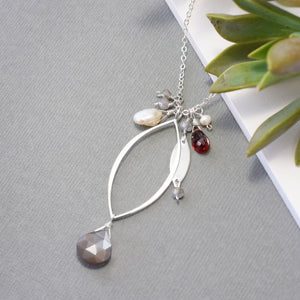 XL Silver Leaf Necklace with Gray Moonstone and Gemstones
