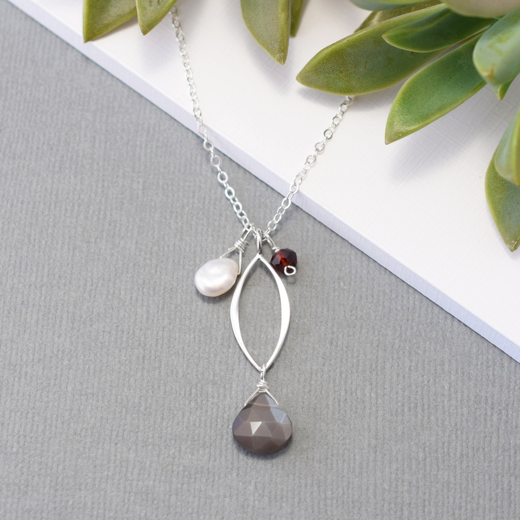 Small Silver Leaf Necklace with Gray Moonstone and Gemstones