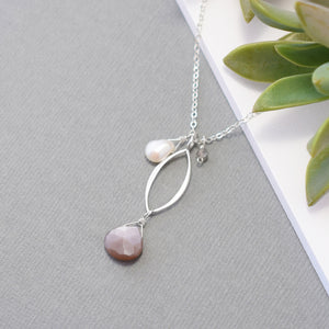 Small Silver Leaf Necklace with Chocolate Moonstone and Gemstones