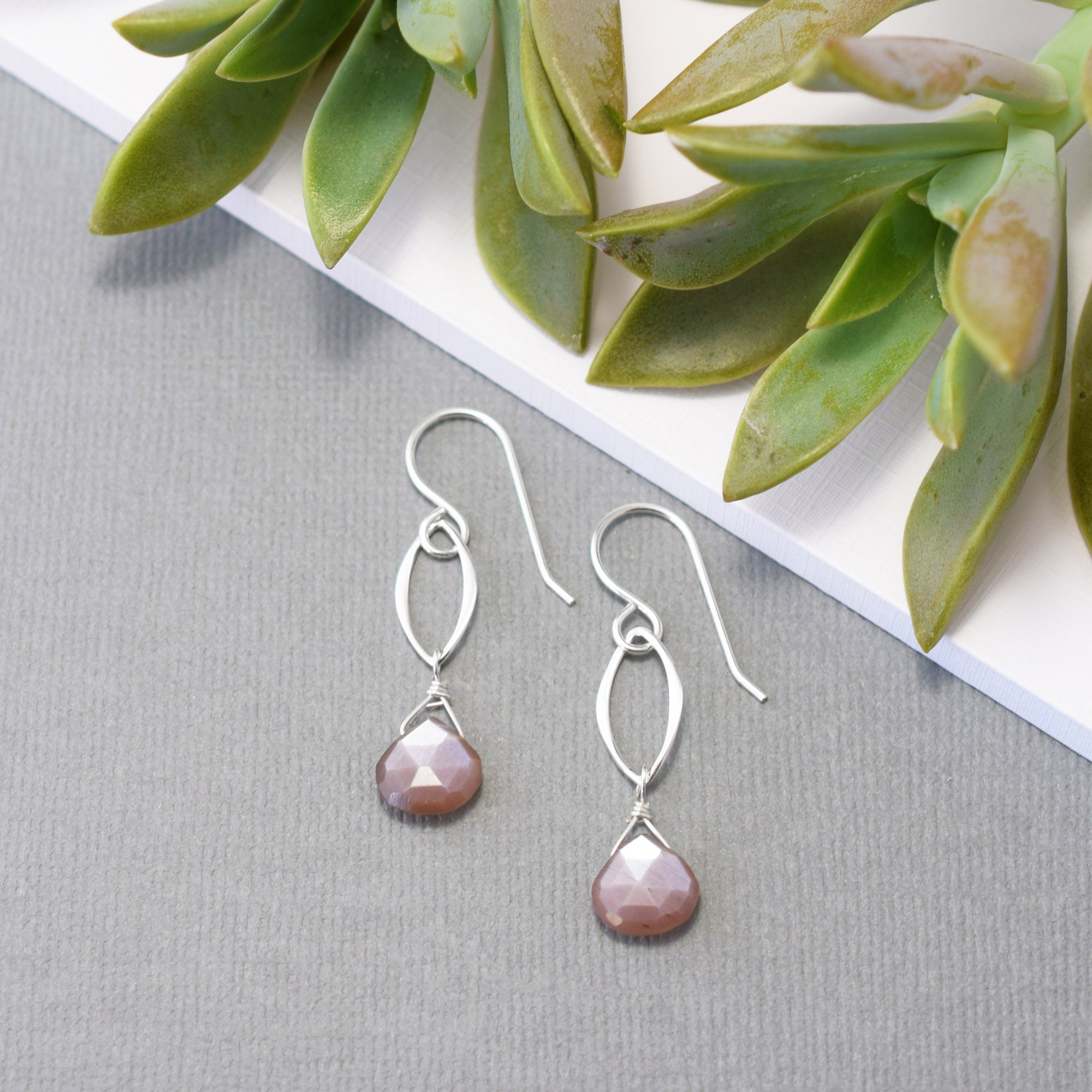 Silver Leaf and Chocolate Moonstone Earrings