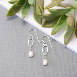 Silver Leaf and Pearl Earrings