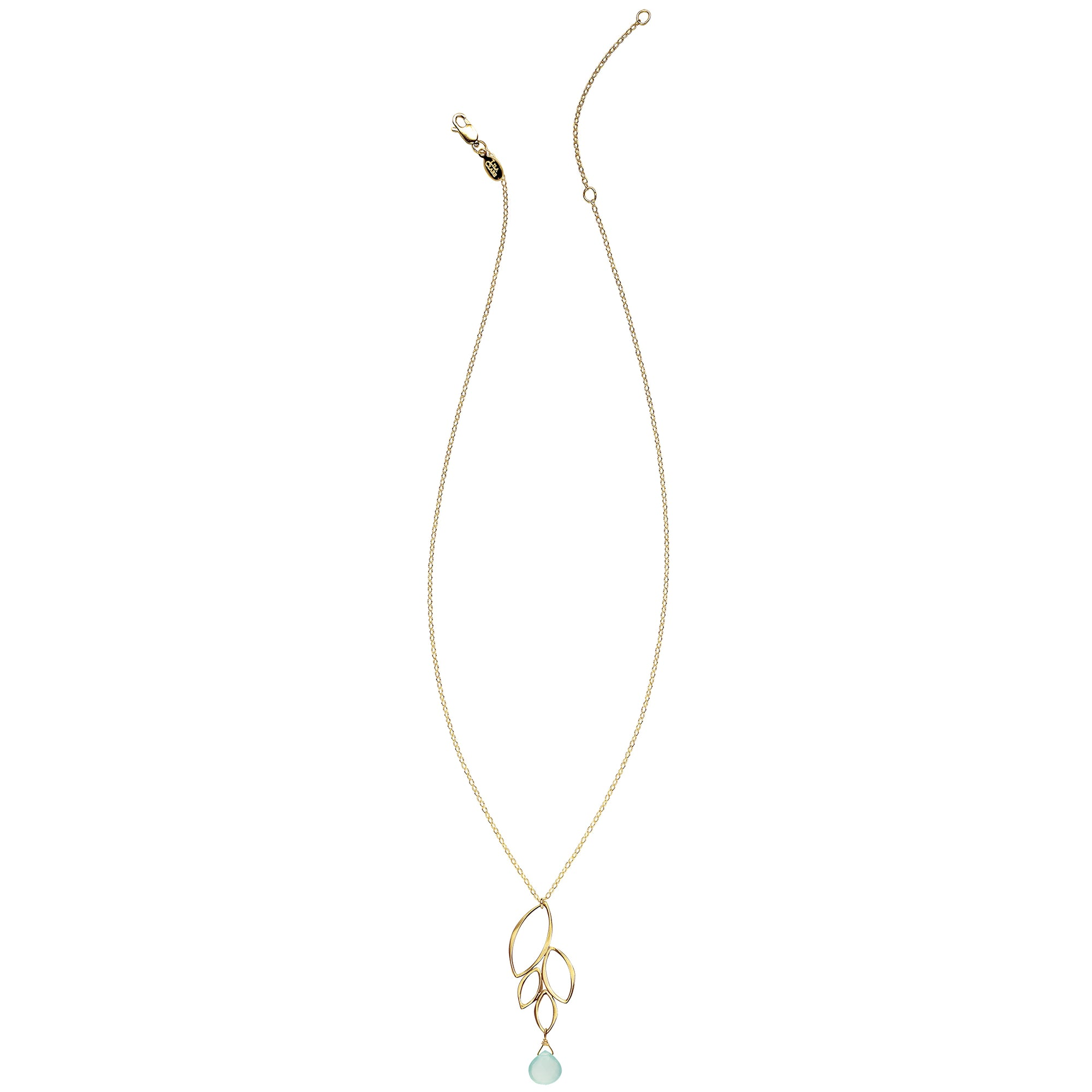 Ella Gold Four Leaf Drop Necklace with Gemstone