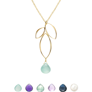 Ella Gold Small Fuchsia Necklace with Gemstone