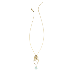 Ella Gold Large Leaf Fringe Necklace with Gemstone
