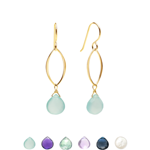 Ella Gold Original Leaf Earrings with Gemstones