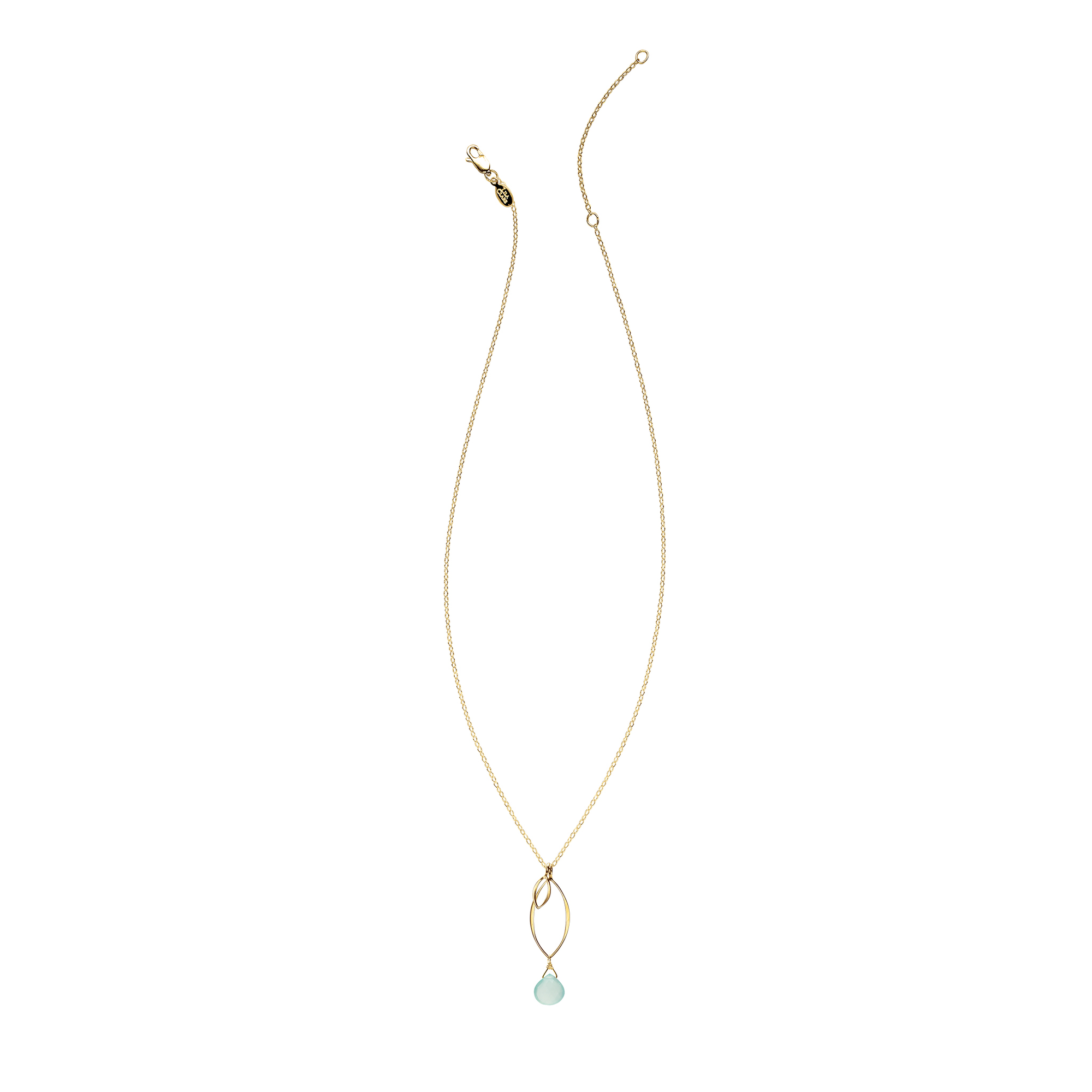Ella Gold Small Leaf Fringe Necklace with Gemstone