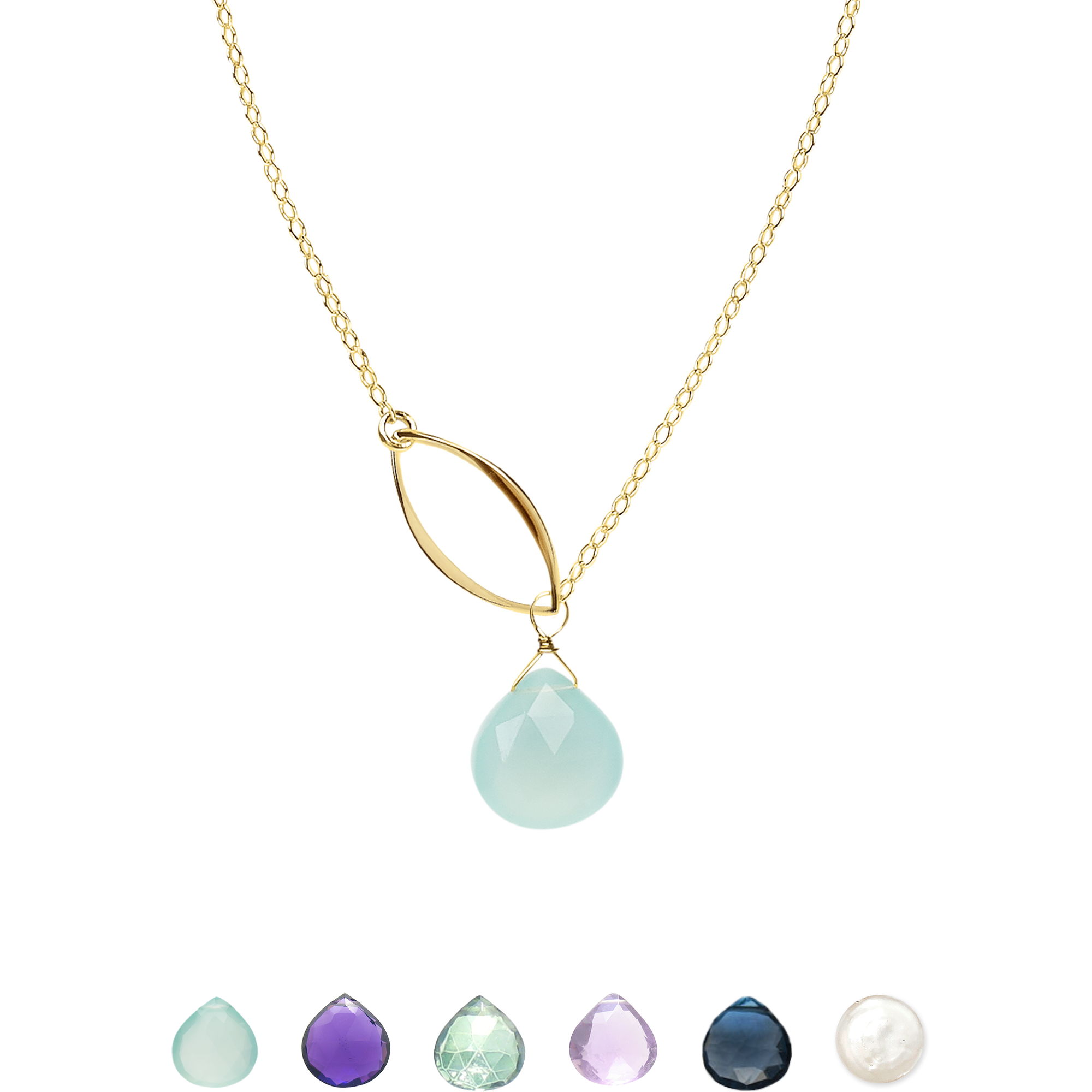 Ella Gold Single Leaf Necklace with Gemstone