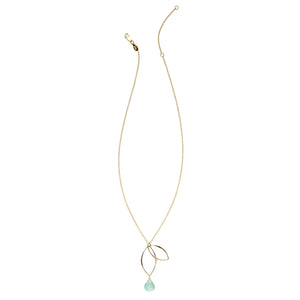 Ella Gold Petal Necklace with Gemstone