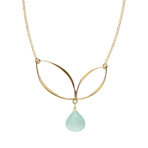 Ella Bud Necklace with Gemstone