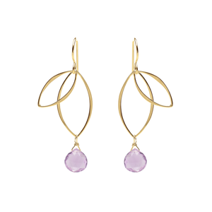Ella Gold Petal Earrings with Gemstones