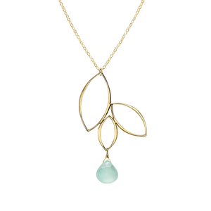 Ella Three Leaf Drop Necklace with Gemstone