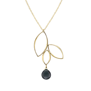Ella Gold Three Leaf Drop Necklace with Gemstone