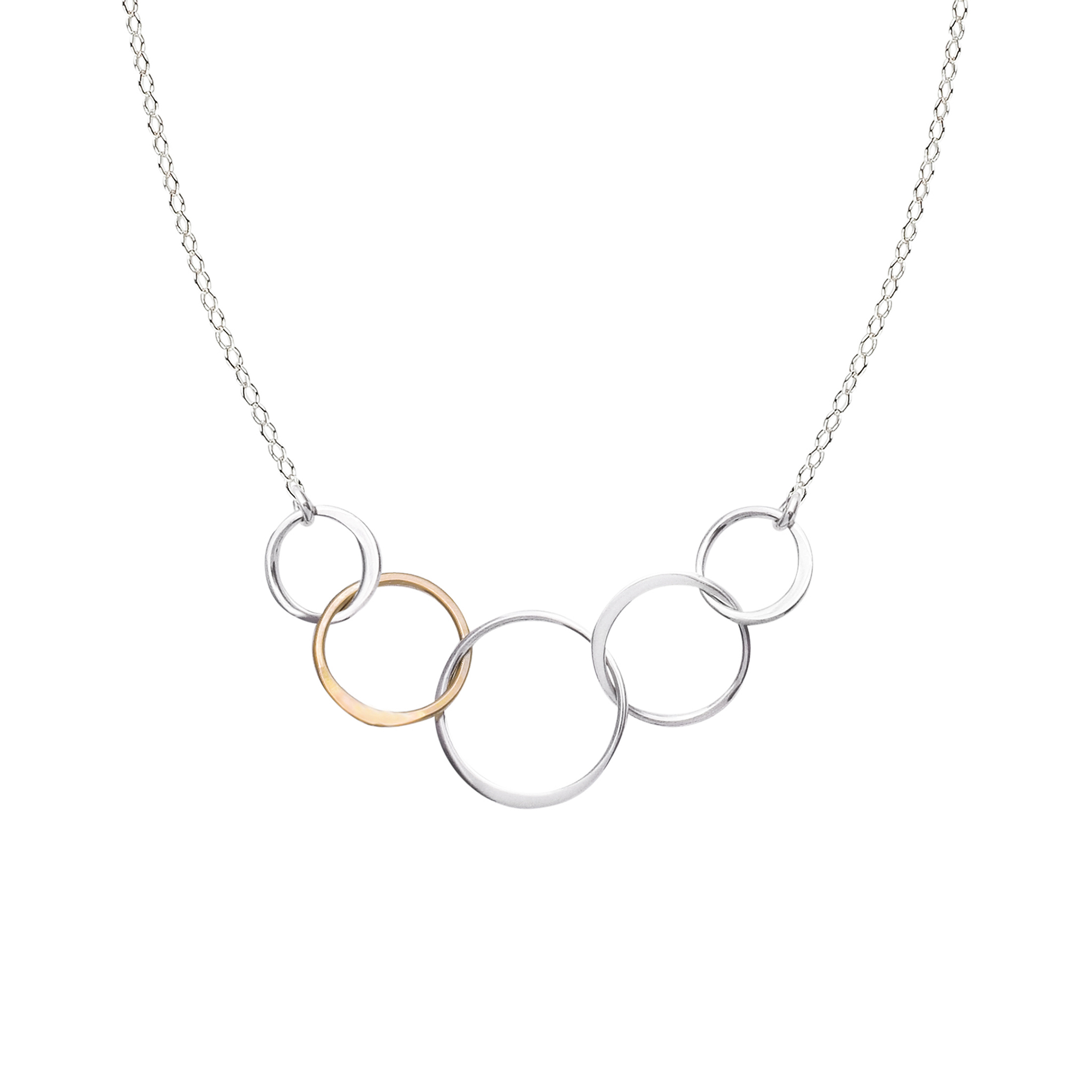 linked five circle necklace