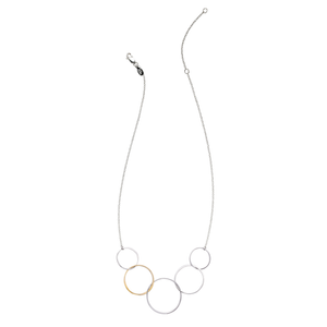 gold and silver graduated circle necklace