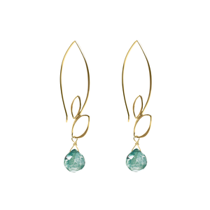 Ella Gold Large Leaf Hooks Earrings with Gemstones