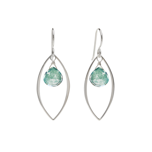 Ella Large Leaf Earrings with Gemstones