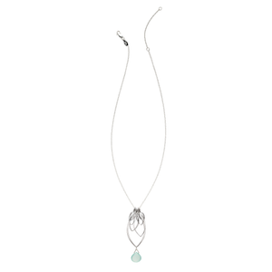 Ella Large Leaf Fringe Necklace with Gemstone