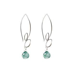 Ella Large Leaf Hook Earrings with Gemstones