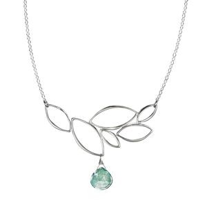 Ella Leaf Cluster Necklace with Gemstone