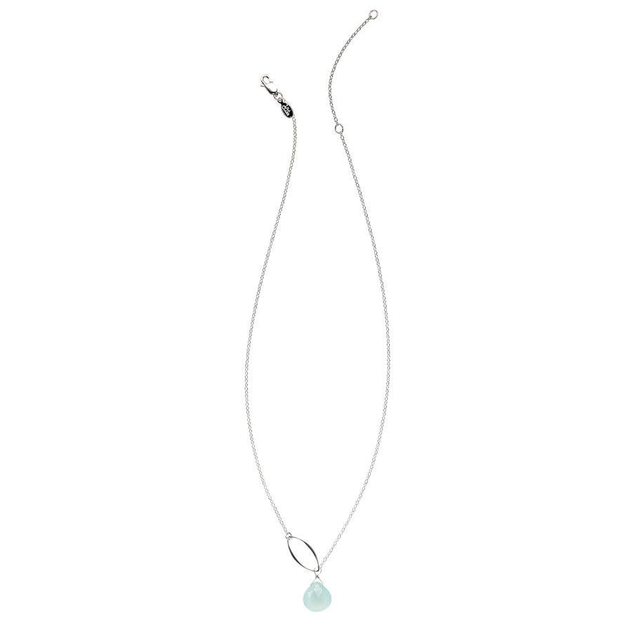Ella Single Leaf Necklace with Gemstone