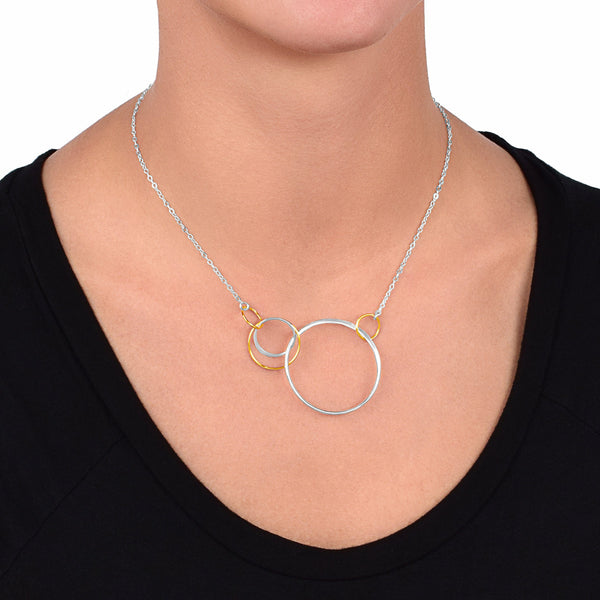 Cynthia Silver & Gold Interlinked Circle Necklace