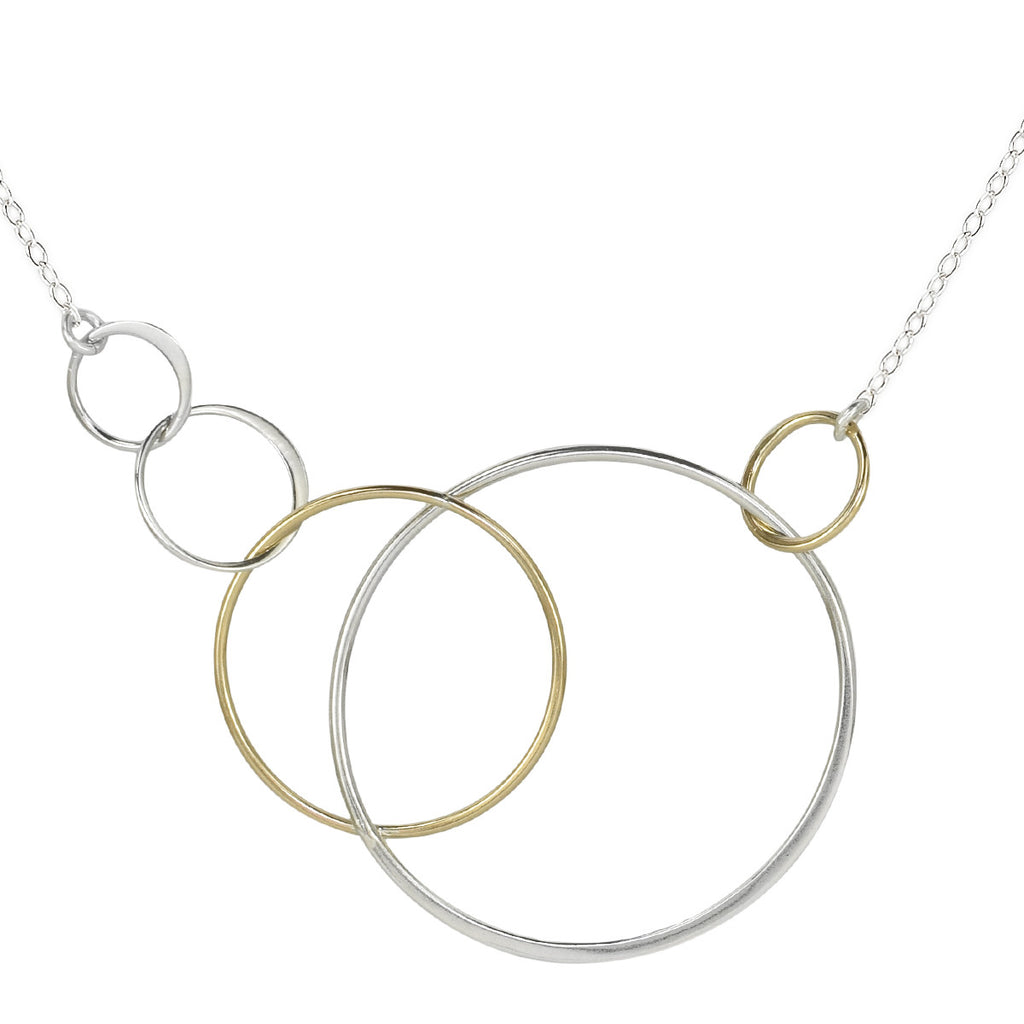 Cynthia Five Silver & Gold Linked Circle Necklace