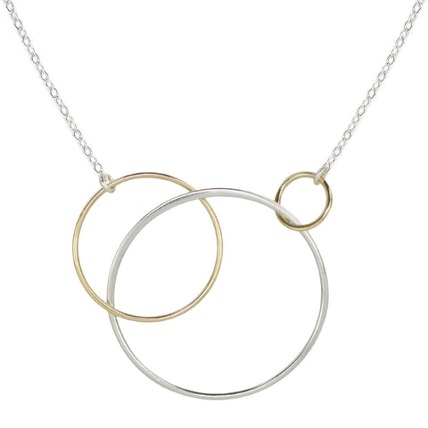 Cynthia Three Silver & Gold Linked Circle Necklace