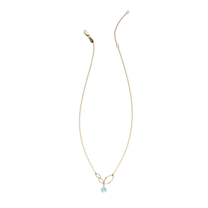 Ella Gold Mini V Leaf Necklace with Gemstone