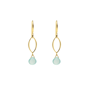 Ella Gold Mini Dangle Leaf Earrings with Gemstones