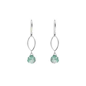 Ella Mini Dangle Leaf Earrings with Gemstones