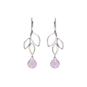 Ella Mini Three Leaf Drop Earrings with Gemstones