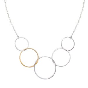 Cynthia Medium Five Gold & Silver Linked Circle Necklace