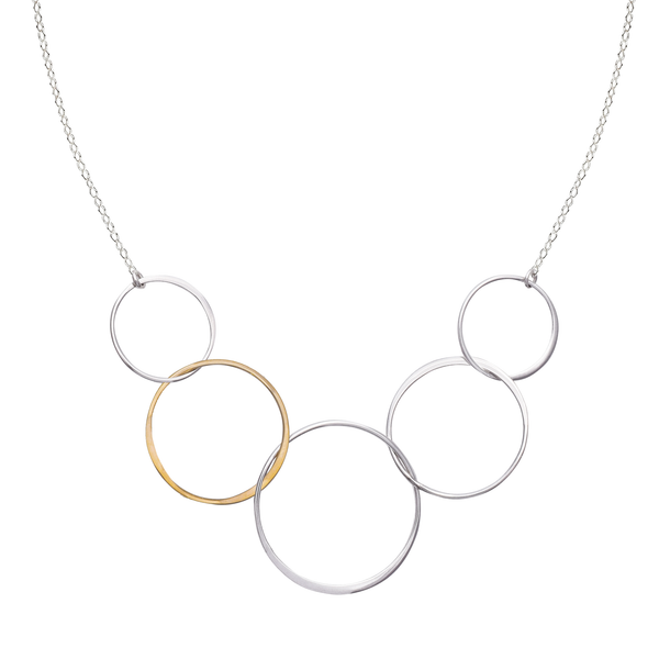 two tone interlocking circle necklace