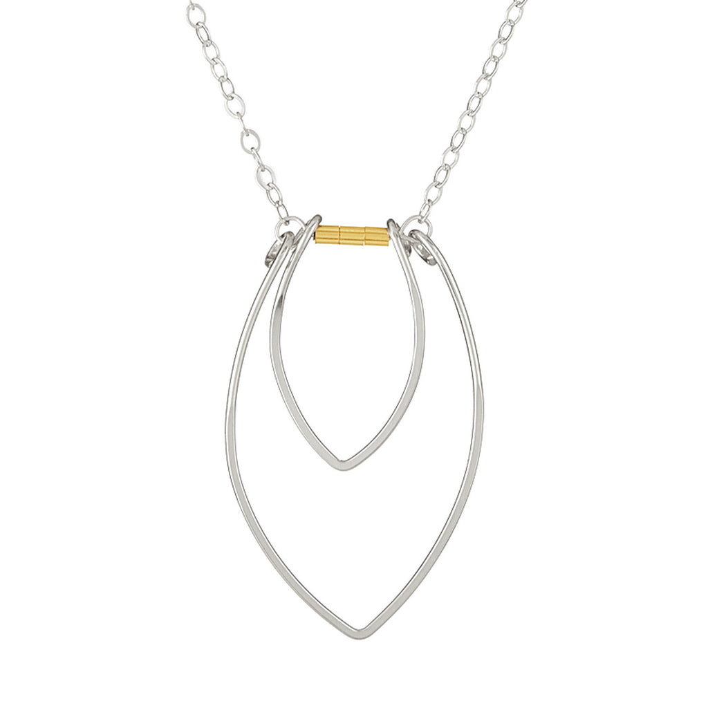 Protection Silver Two Petal Necklace with Gold Beads