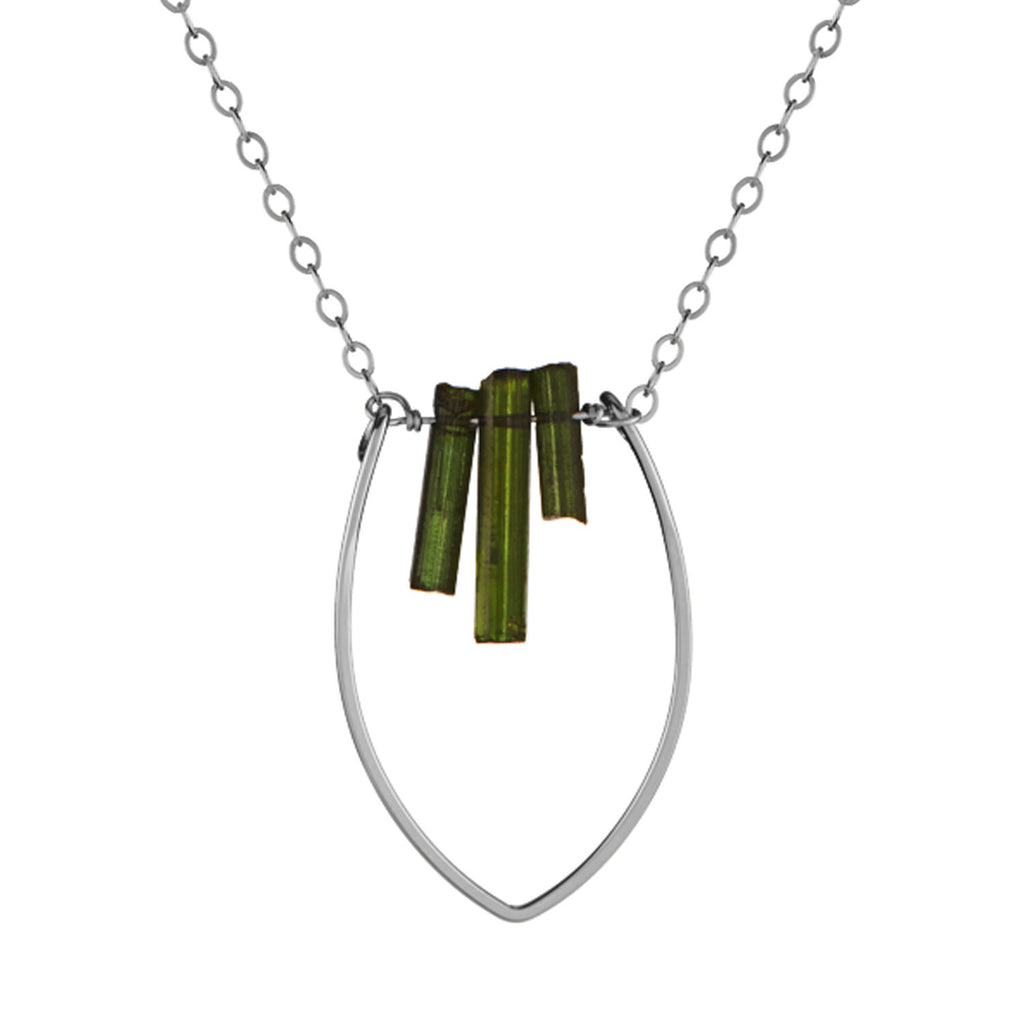 Protection Small Petal Necklace with Tourmaline Fringe