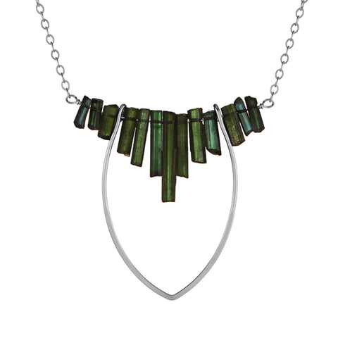 Protection Large Petal Necklace with Tourmaline Fringe